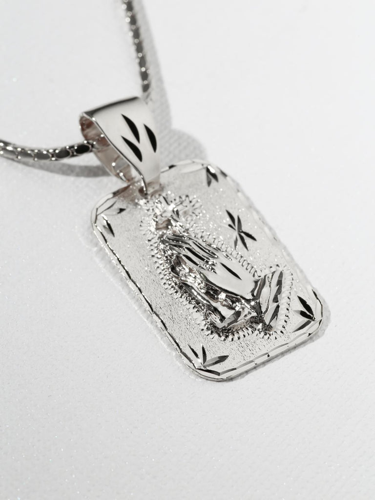 The Praying Hands Silver Necklace