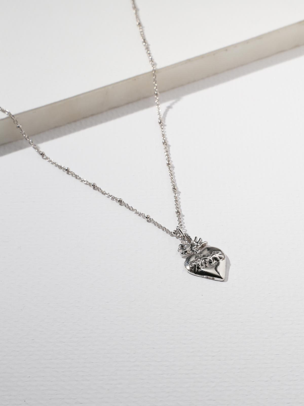 The Flame Sacred Heart Necklace Silver