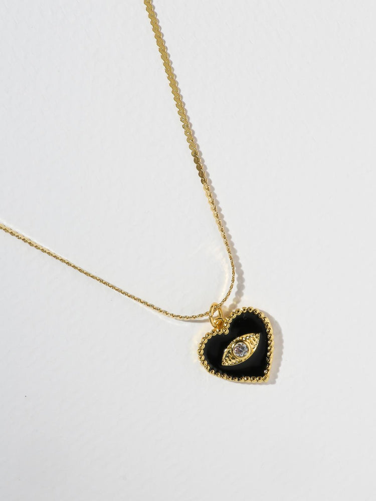 Necklaces The Joelyn Heart Necklace - Black Vanessa Mooney