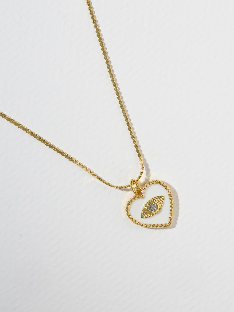 The Joelyn Heart Necklace - White