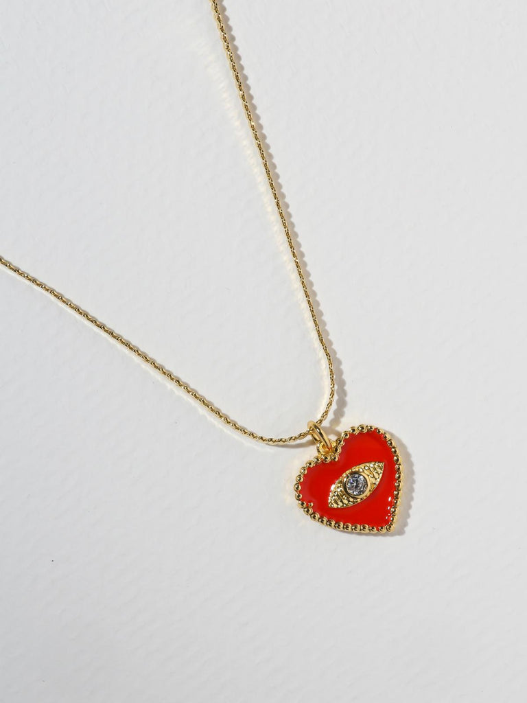 The Joelyn Heart Necklace - Red