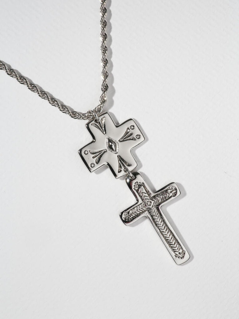 The Double Cross Necklace - Silver