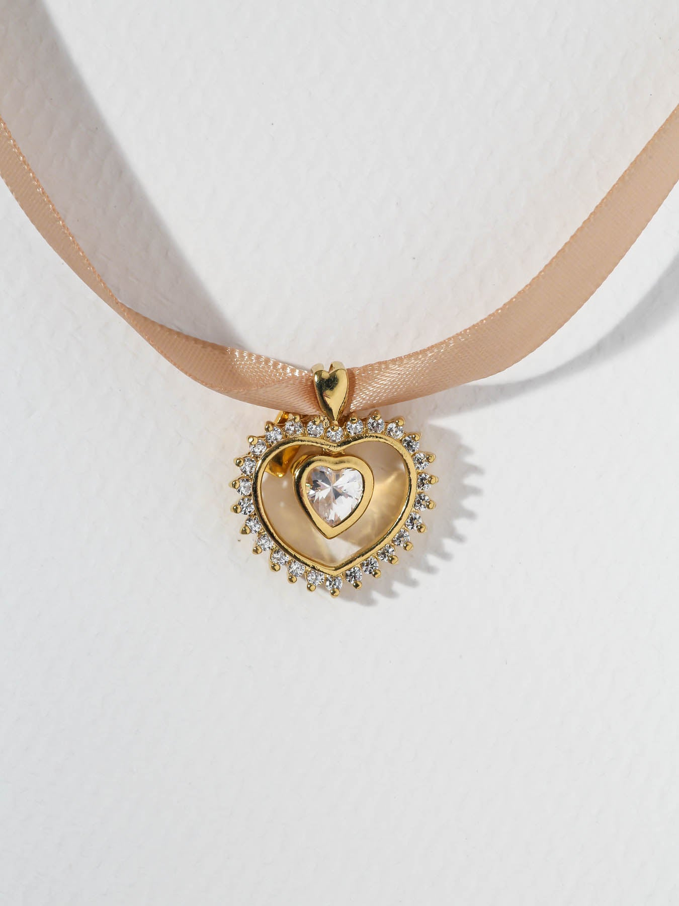 The Nude Heart Ribbon Necklace