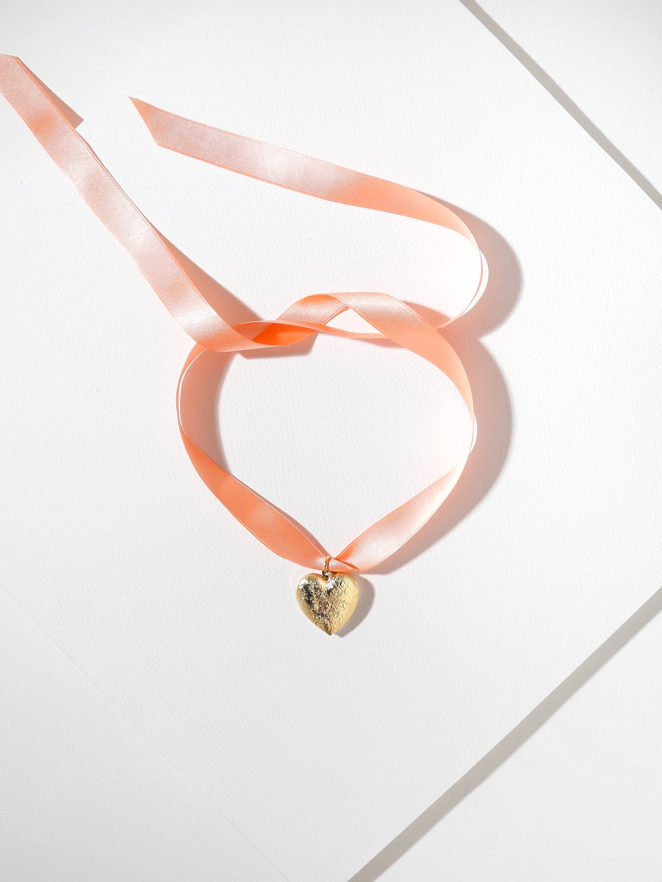 Necklaces The Peach Heart Ribbon Necklace Vanessa Mooney