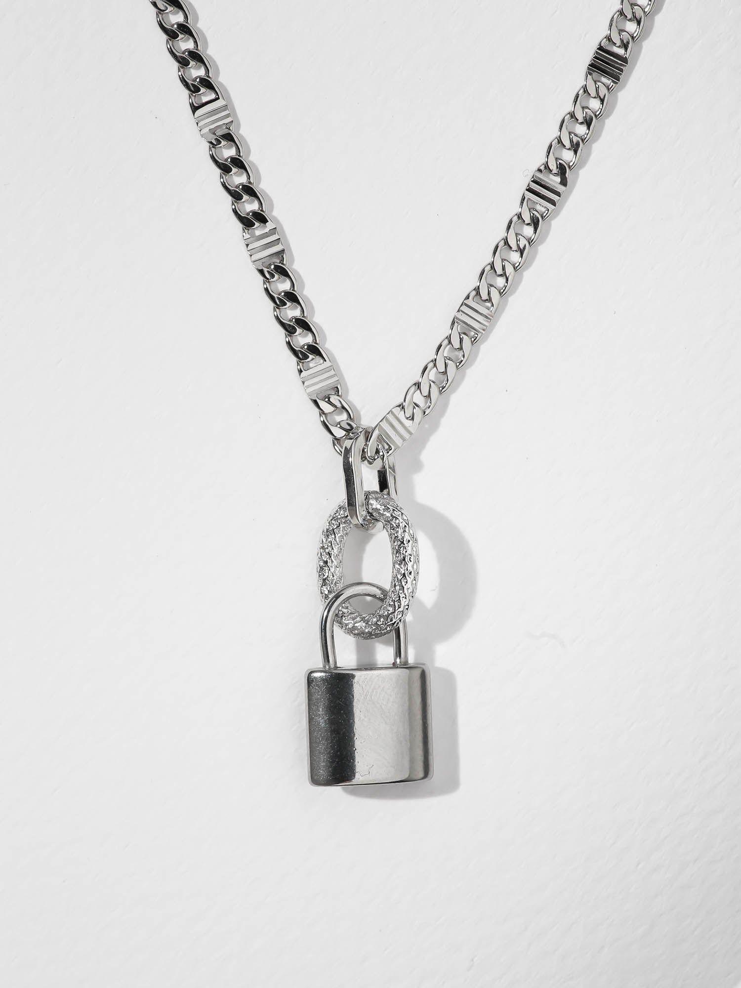 Necklaces The Lock Necklace - Silver Vanessa Mooney