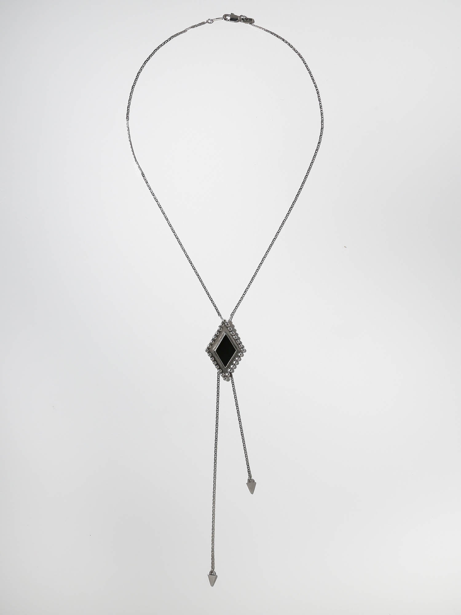 The Diamond Lariat Necklace - Antiqued Silver