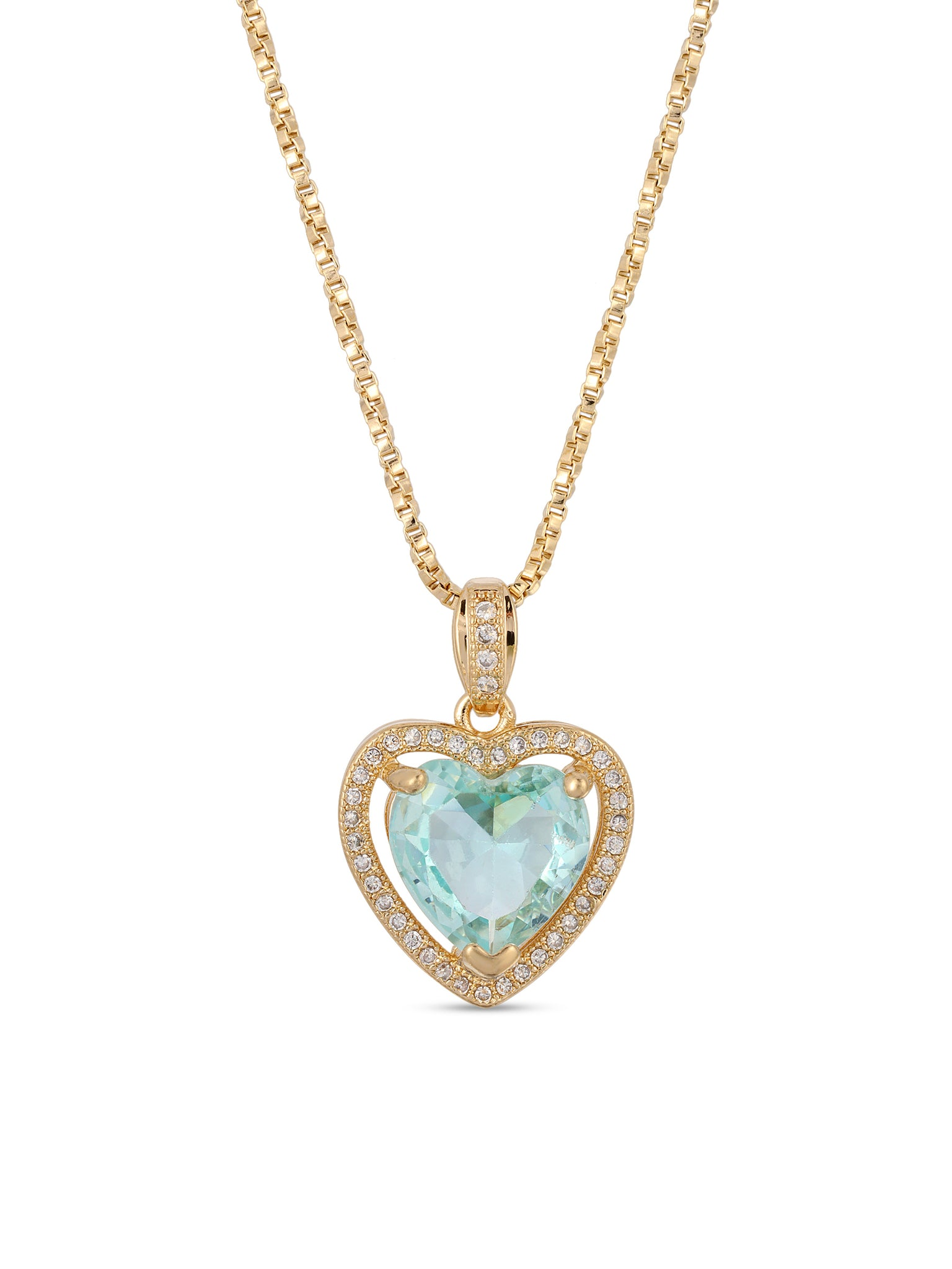 The Mini Heart Necklace - Aqua