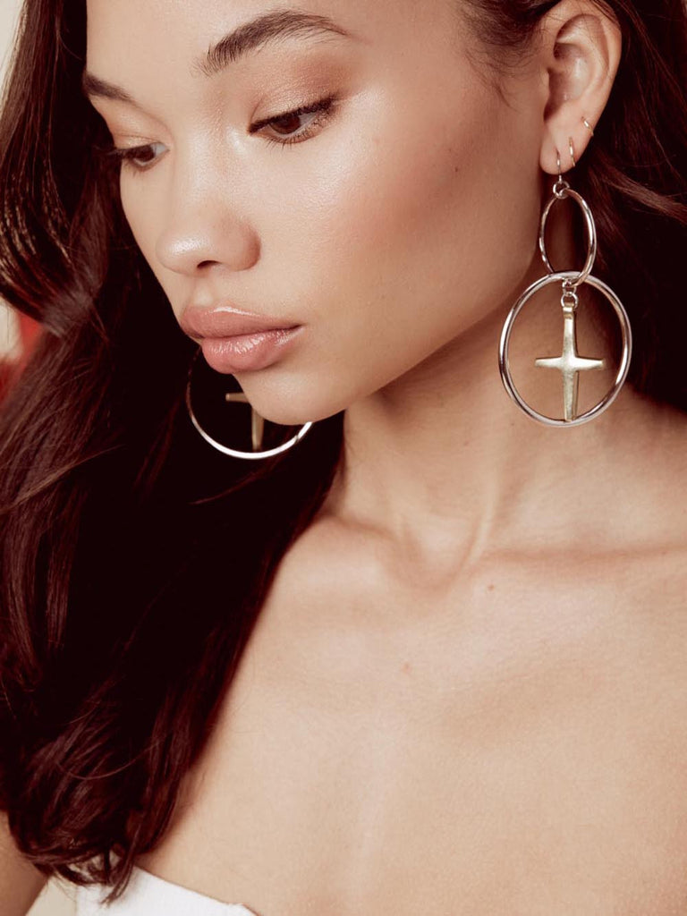 The Embark Silver Cross Earrings