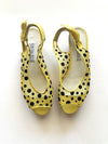Vintage Peep Toe Sandals - Yellow Dot