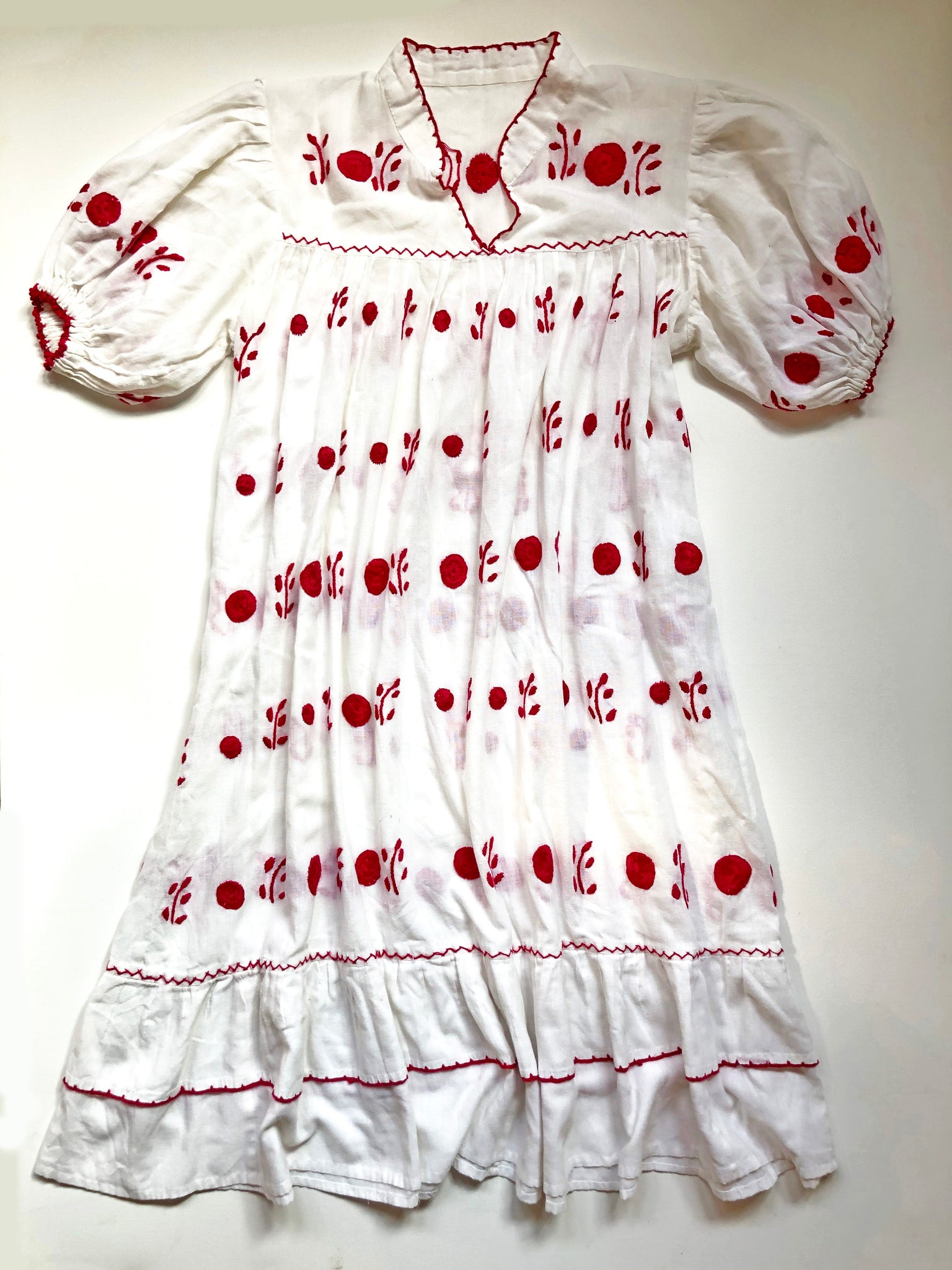 Vintage Hand-Embroidered Cotton Dress