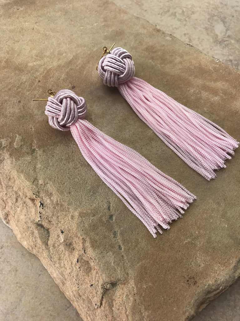 The Astrid Knotted Tassel Earrings Blush