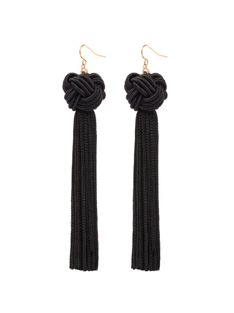 The Astrid Knotted Tassel Earrings Black