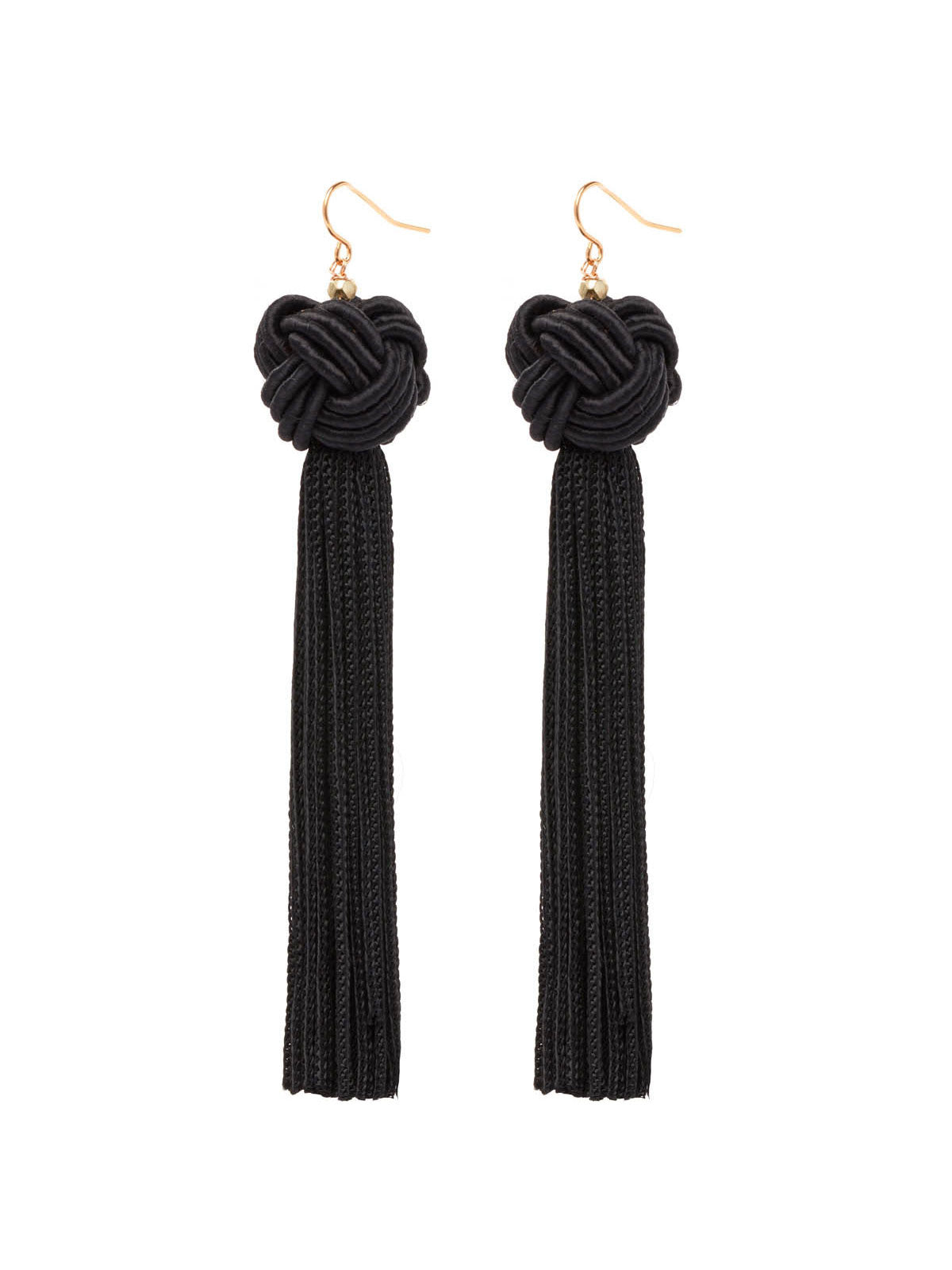 Earrings The Astrid Knotted Tassel Earrings Black Vanessa Mooney