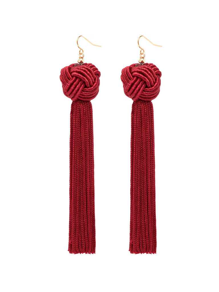 The Astrid Knotted Tassel Earrings Burgundy