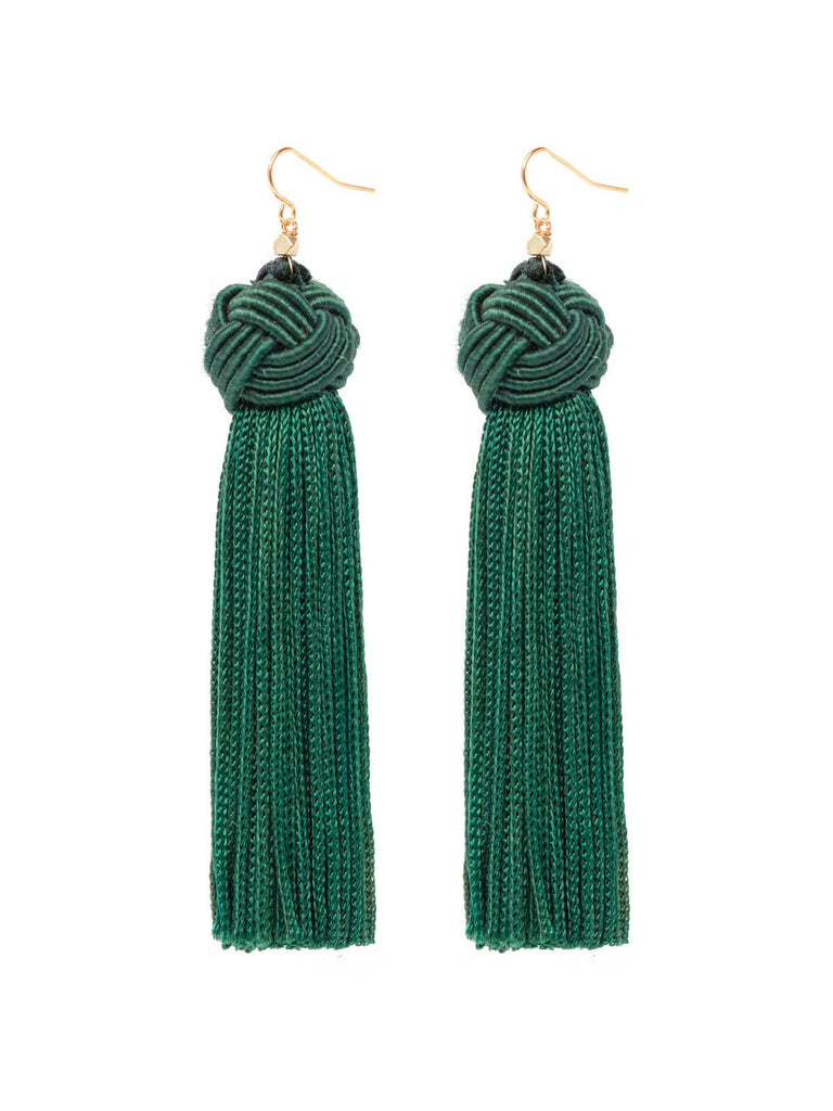 Earrings The Astrid Knotted Tassel Earrings Green Vanessa Mooney