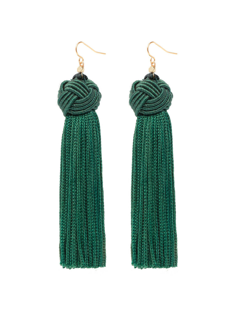 The Astrid Knotted Tassel Earrings Green