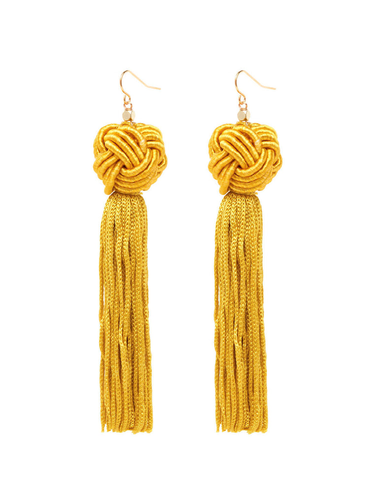 The Astrid Knotted Tassel Earrings - Gold