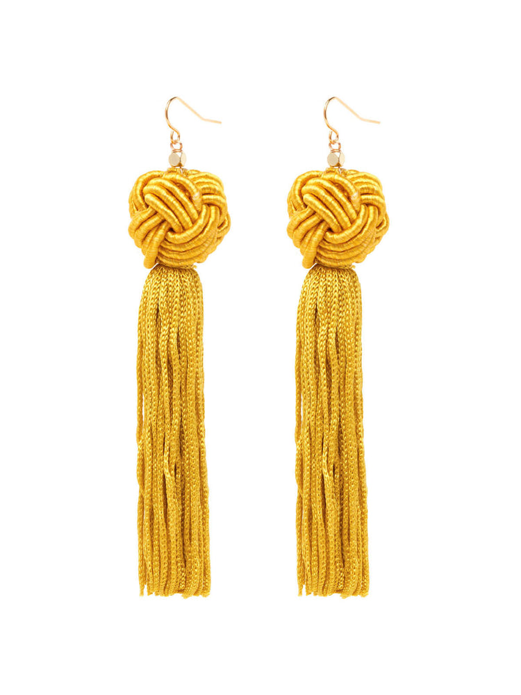 The Astrid Knotted Tassel Earrings Gold