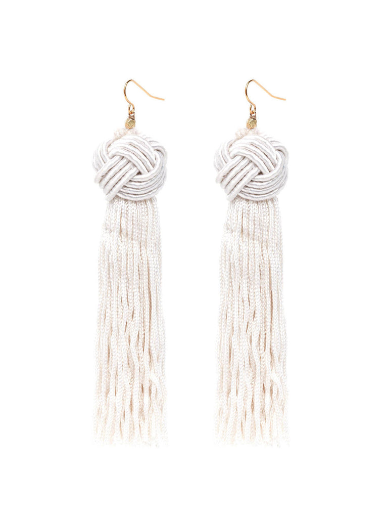 Earrings The Astrid Knotted Tassel Earrings Ivory Vanessa Mooney