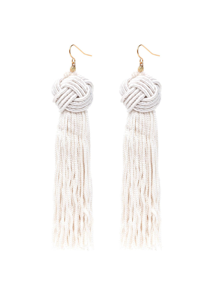 The Astrid Knotted Tassel Earrings Ivory