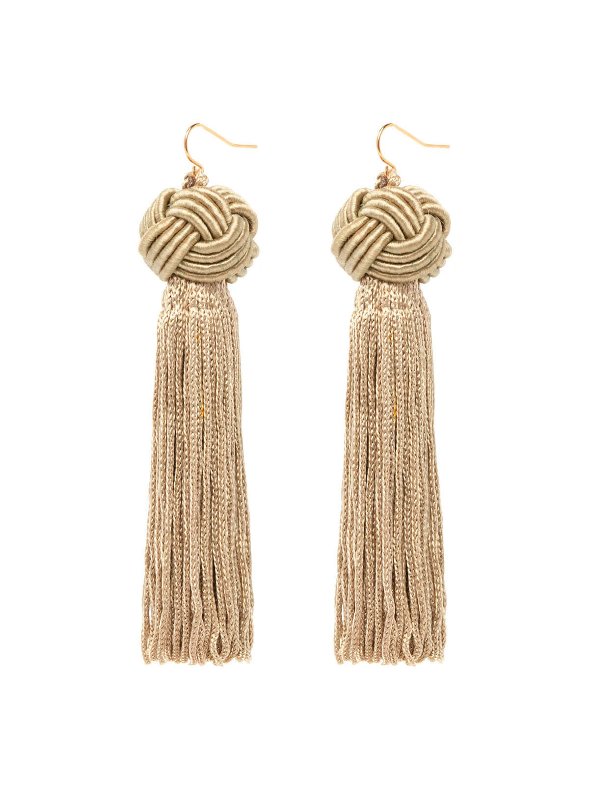 The Astrid Knotted Tassel Earrings Olive