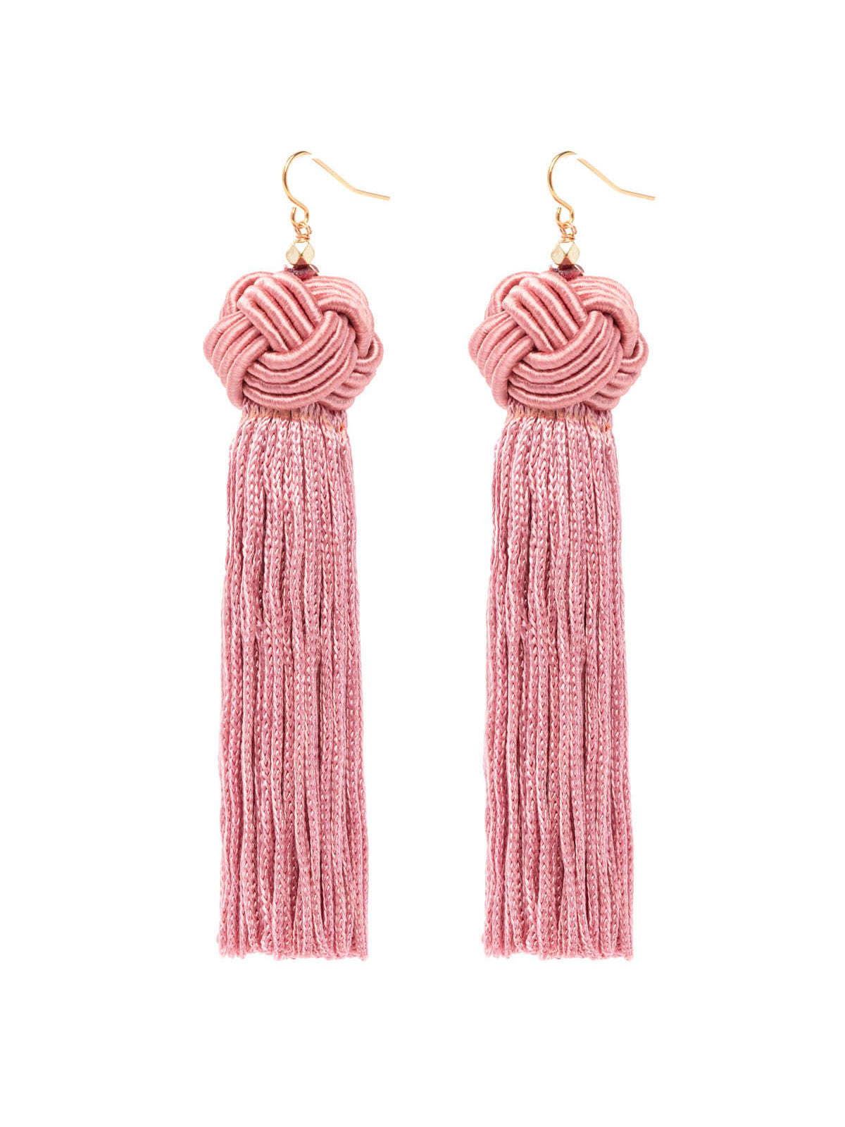 The Astrid Knotted Tassel Earrings Pink