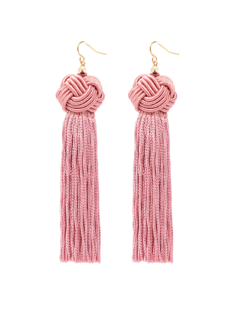 Earrings The Astrid Knotted Tassel Earrings Pink Vanessa Mooney