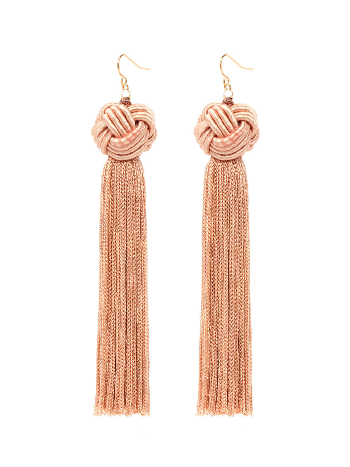 The Astrid Knotted Tassel Earrings Tan