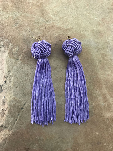 The Astrid Knotted Tassel Earrings Lilac