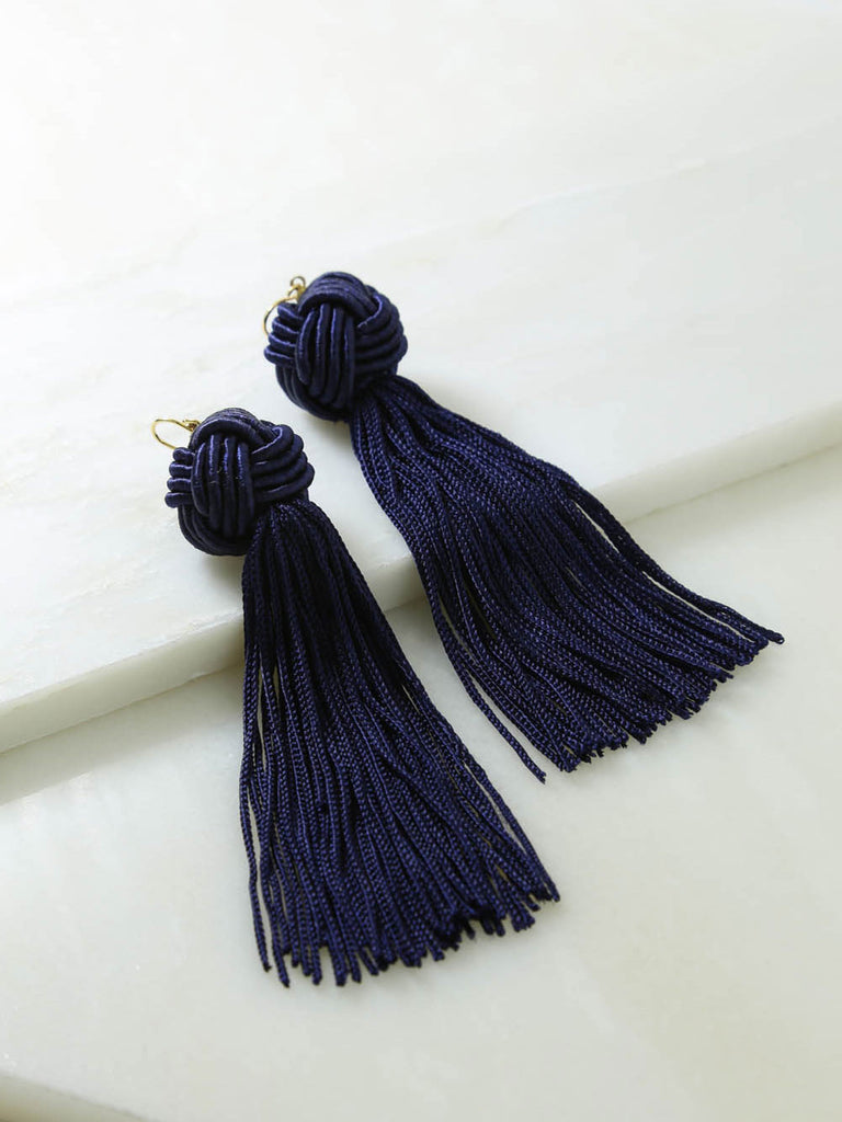 Astrid Knotted Tassel Earrings Navy