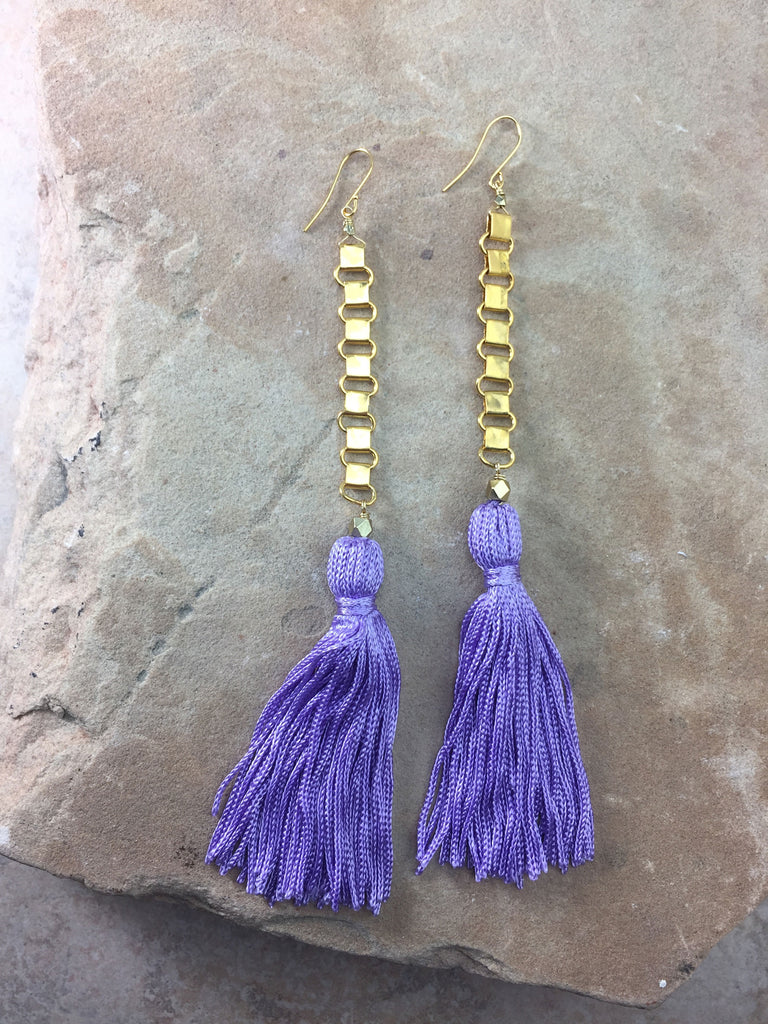The Davina Purple Tassel Earrings