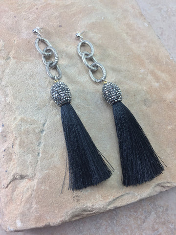 The Allora Black Tassel Earrings