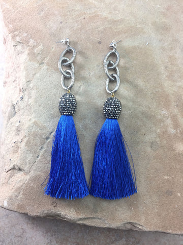The Allora Blue Tassel Earrings