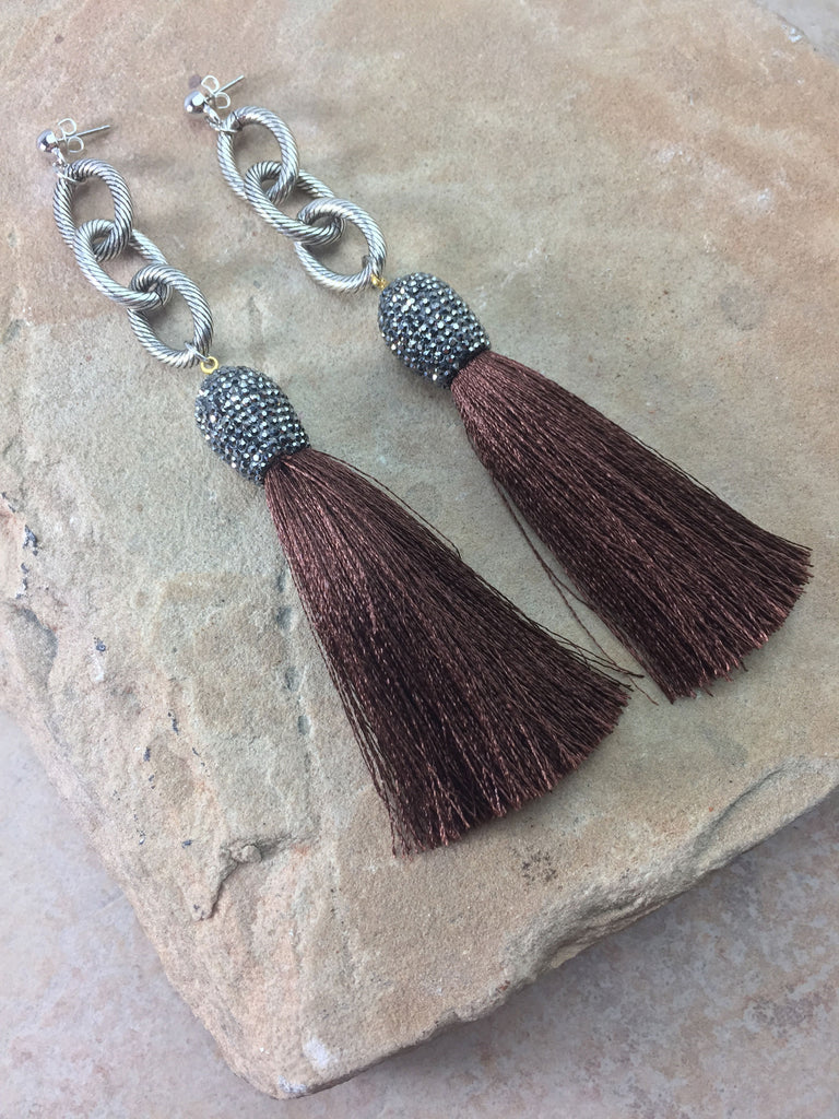 The Allora Brown Tassel Earrings