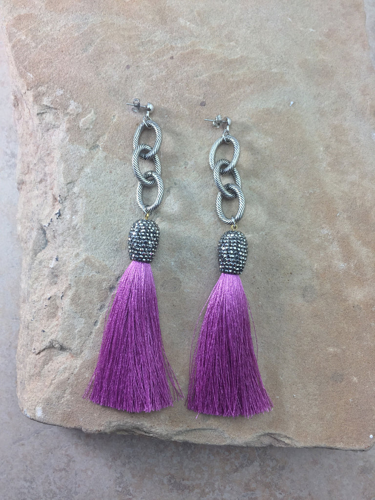 The Allora Fuscia Tassel Earrings