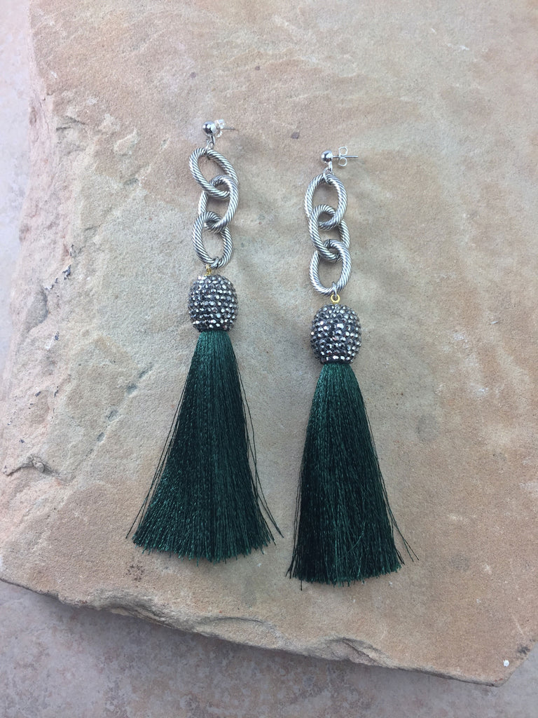 The Allora Green Tassel Earrings