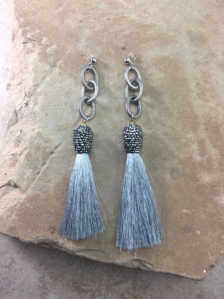 The Allora Grey Tassel Earrings