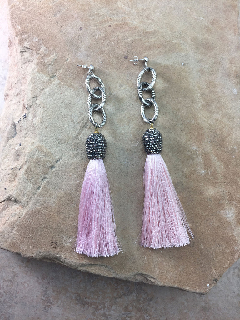 The Allora Pink Tassel Earrings