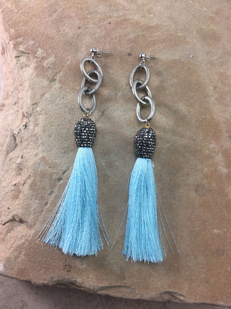 The Allora Turquoise Tassel Earrings