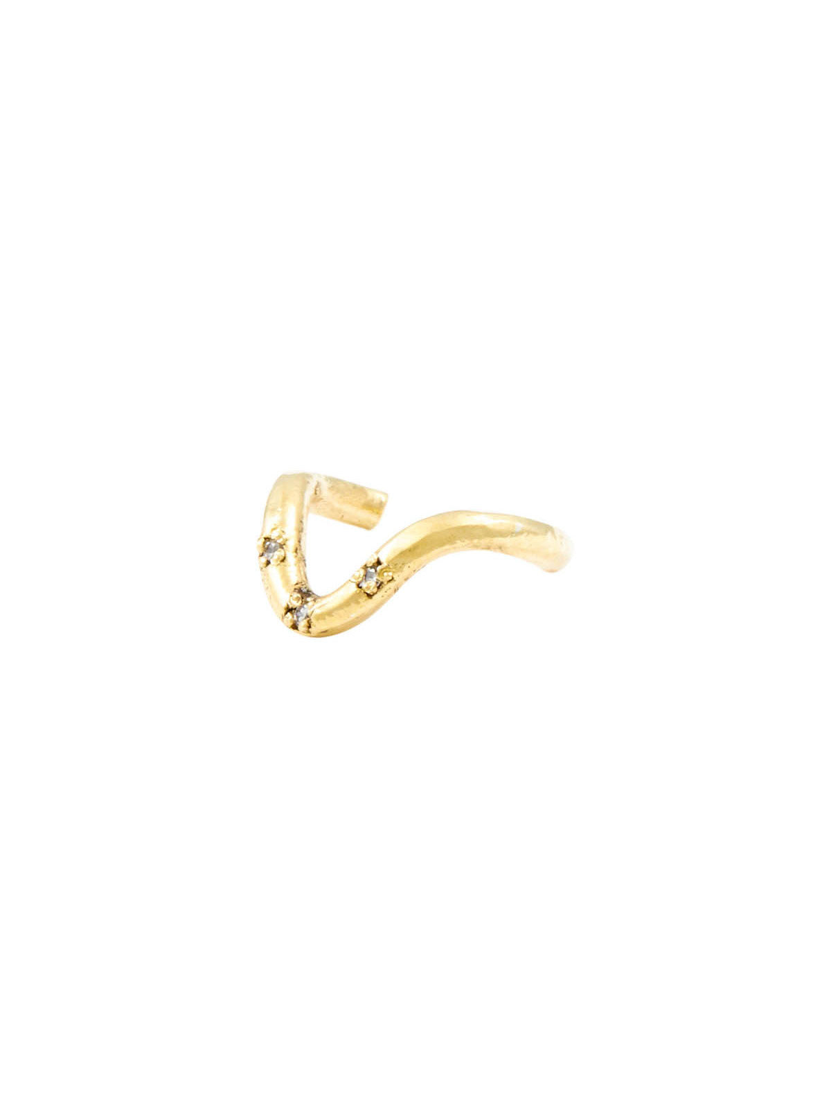 The Darling 3 Stone Gold White Diamond Ear Cuff