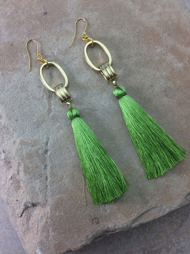 The Cleo Tassel Green Earrings