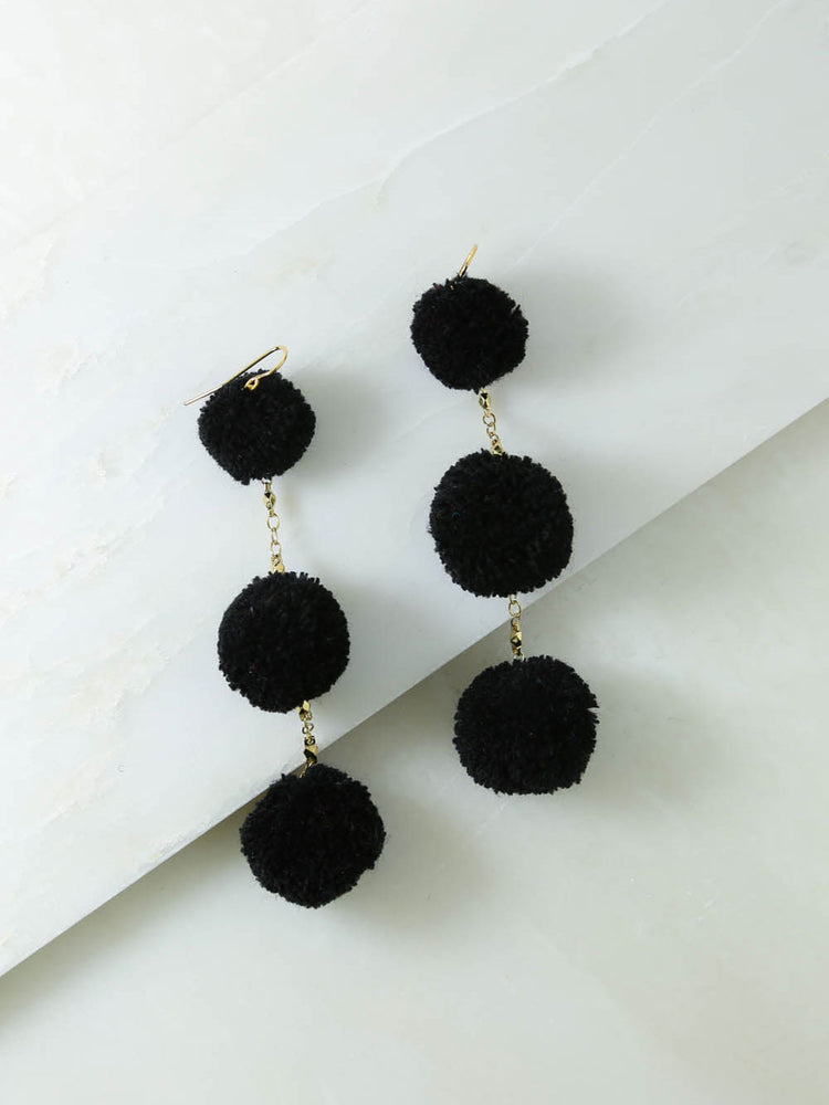 The Dragnet Black Pom Pom Earrings