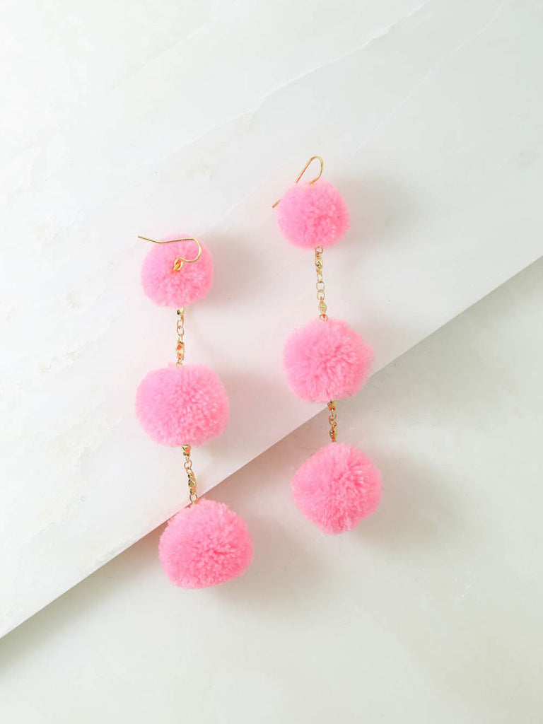The Dragnet Pink Pom Pom Earrings