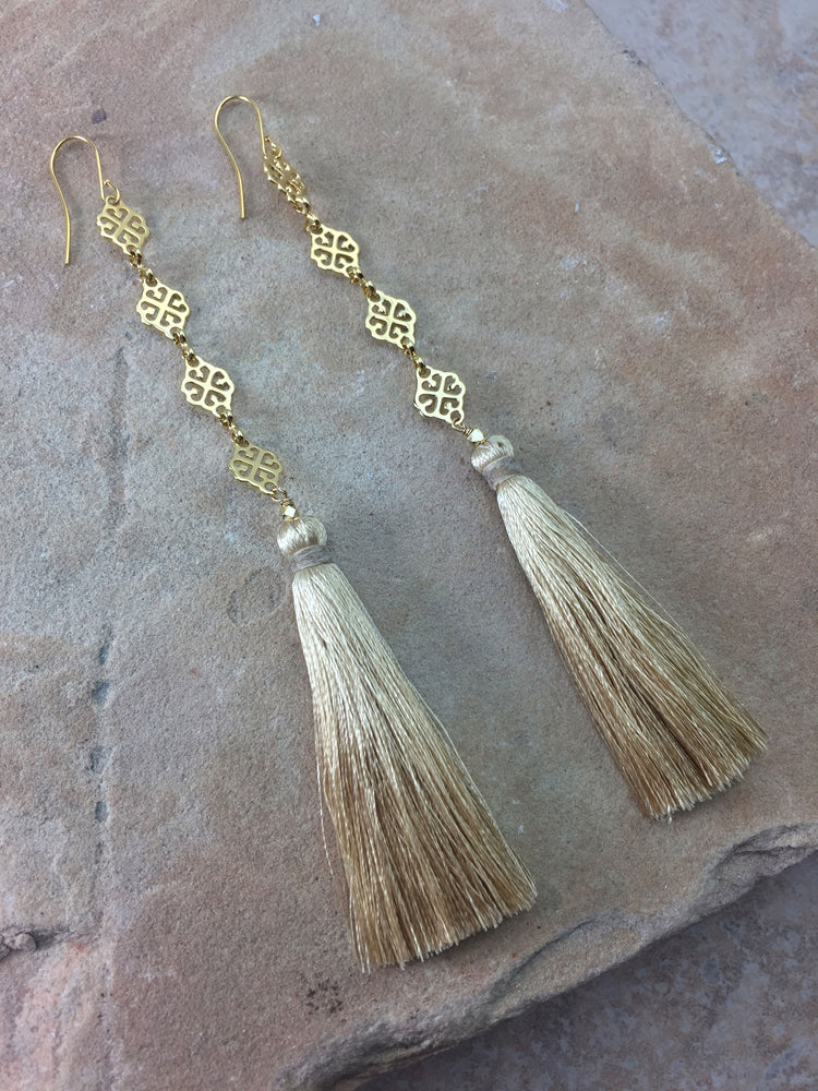 The Estella Tassel Earrings Cream