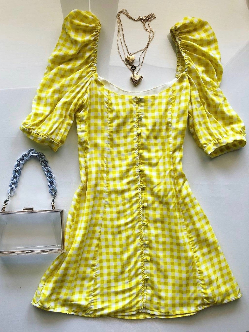 The Cherry Dress - Yellow & White Gingham