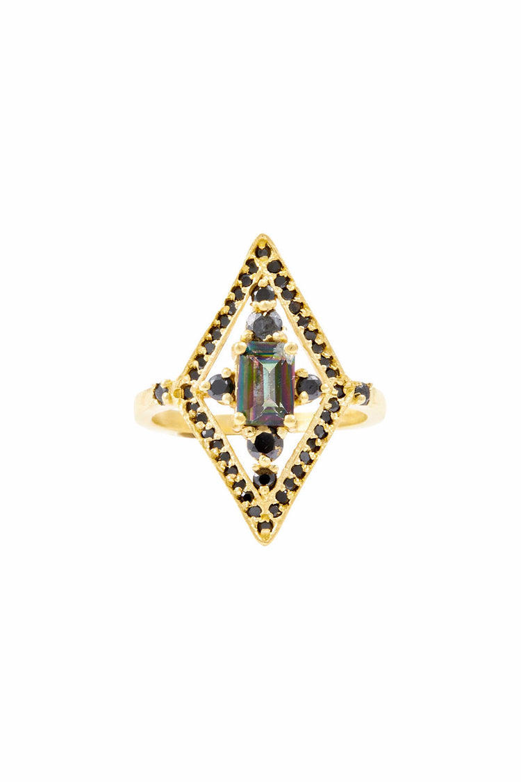 Vanessa Mooney The Muse Forever Gold Black Diamond Ring