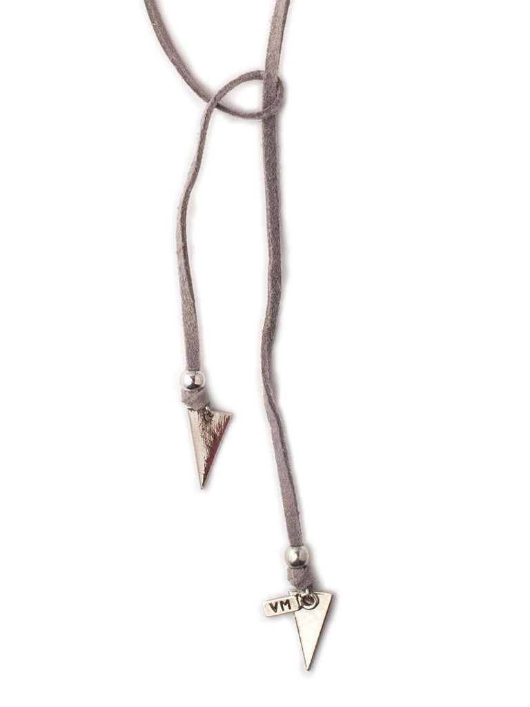 Grey Suede Bolo With Silver Triangles