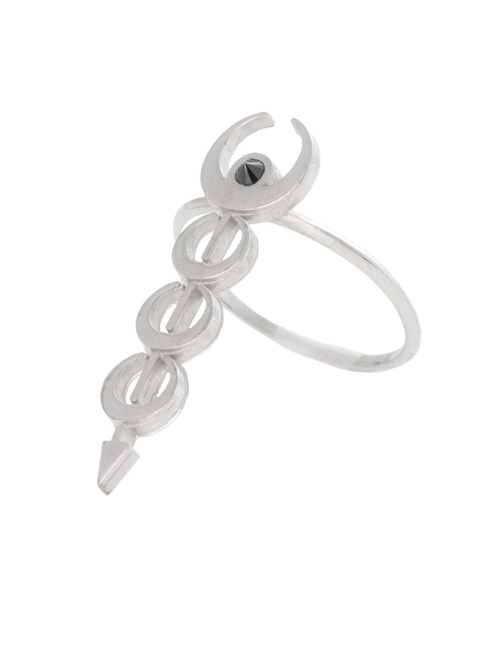 The Sadi Crescent Stacked Moon Silver Ring