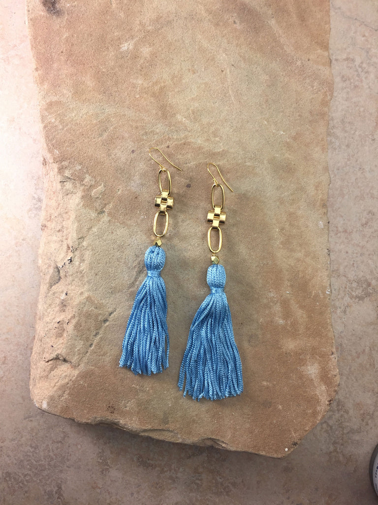 The Faith Tassel Earrings Blue