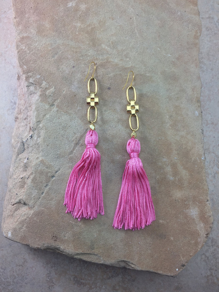 The Faith Tassel Earrings Pink